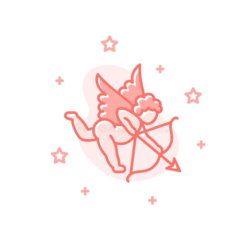 Concetto piano di giorno di S. Valentino di vettore del fumetto del cupido illustrazione vettoriale