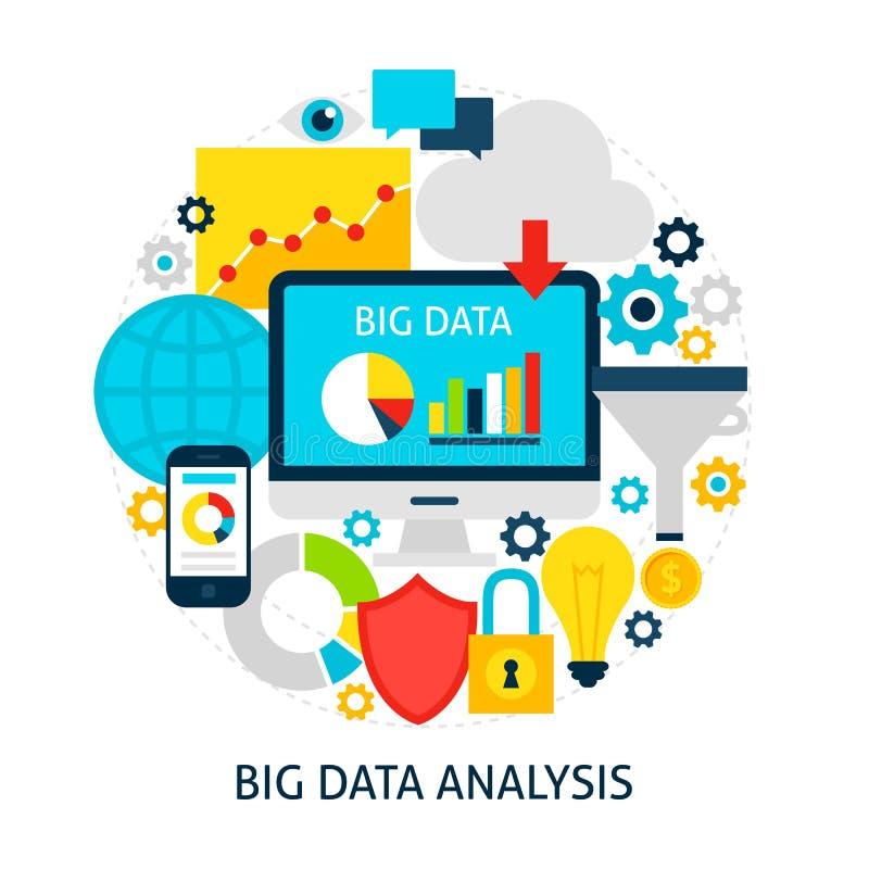 Concetto piano di grande analisi dei dati illustrazione di stock