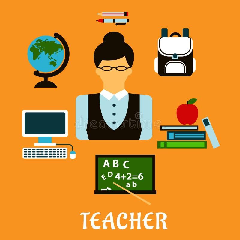Concetto piano di professione del maestro di scuola illustrazione di stock