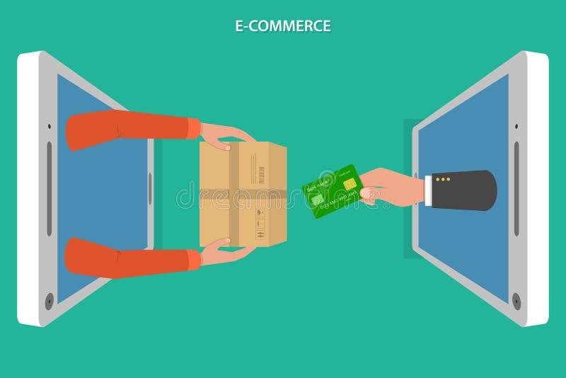 Concetto piano di vettore di commercio elettronico royalty illustrazione gratis