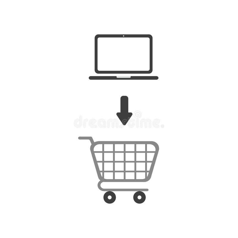 Concetto piano di vettore di progettazione del computer portatile nel carrello illustrazione di stock