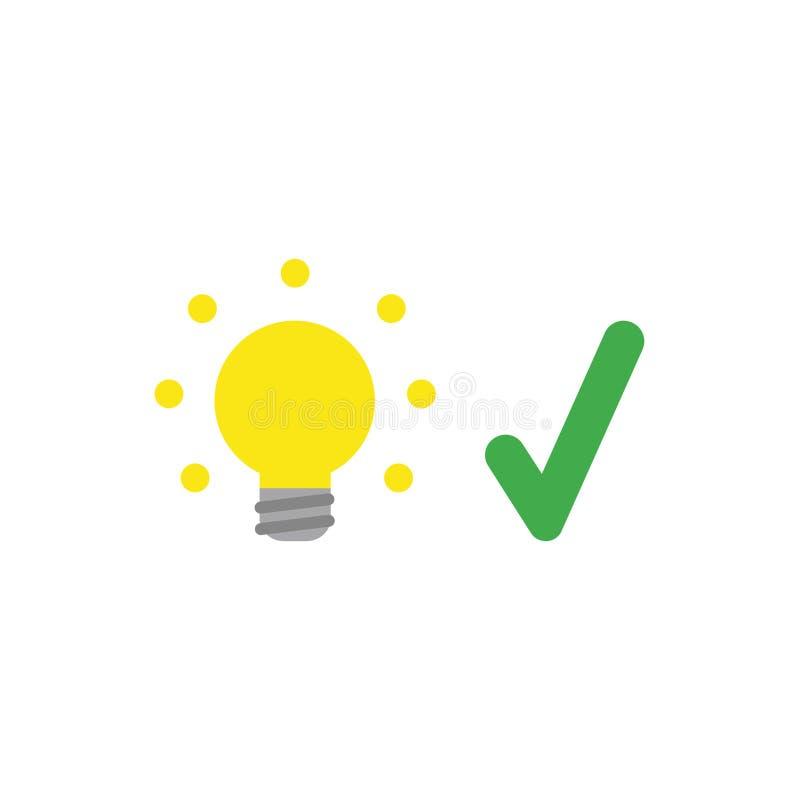 Concetto piano di vettore di progettazione della lampadina d'ardore con il segno di spunta illustrazione vettoriale