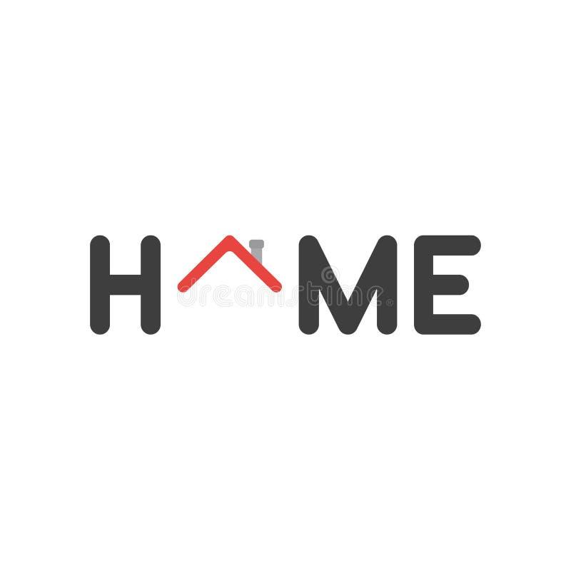 Concetto piano di vettore di progettazione della parola domestica con il tetto rosso della casa illustrazione di stock
