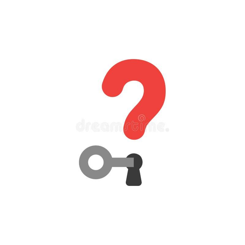 Concetto piano di vettore di stile di progettazione del punto interrogativo con la serratura a chiave royalty illustrazione gratis