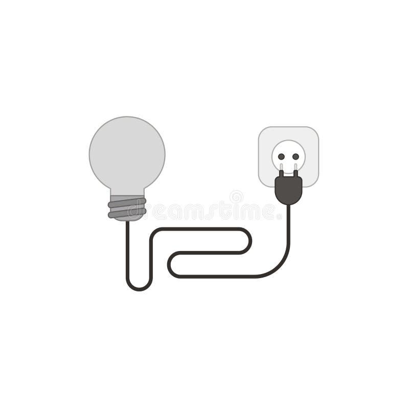 Concetto piano di vettore di stile di progettazione della lampadina con la spina e lo sbocco elettrici del cavo su bianco Profili illustrazione vettoriale