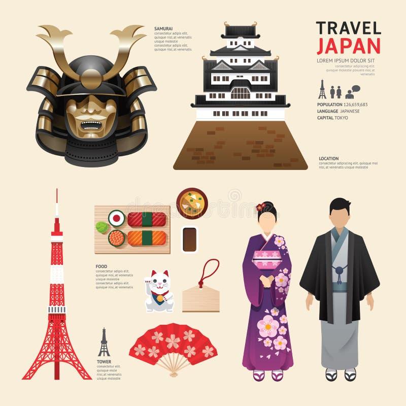 Concetto piano di viaggio di progettazione delle icone del Giappone Vettore illustrazione di stock