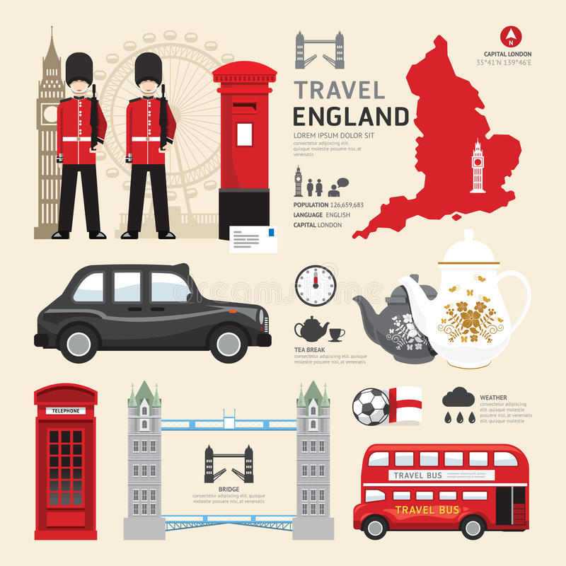 Concetto piano di viaggio di progettazione delle icone di Londra, Regno Unito illustrazione vettoriale