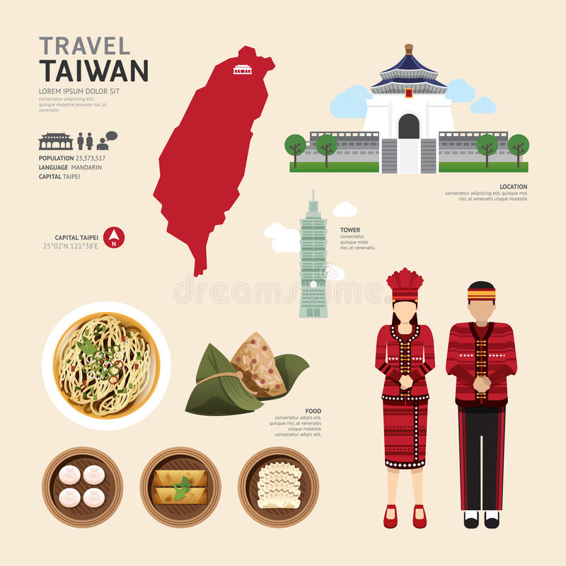Concetto piano di viaggio di progettazione delle icone di Taiwan Vettore illustrazione di stock