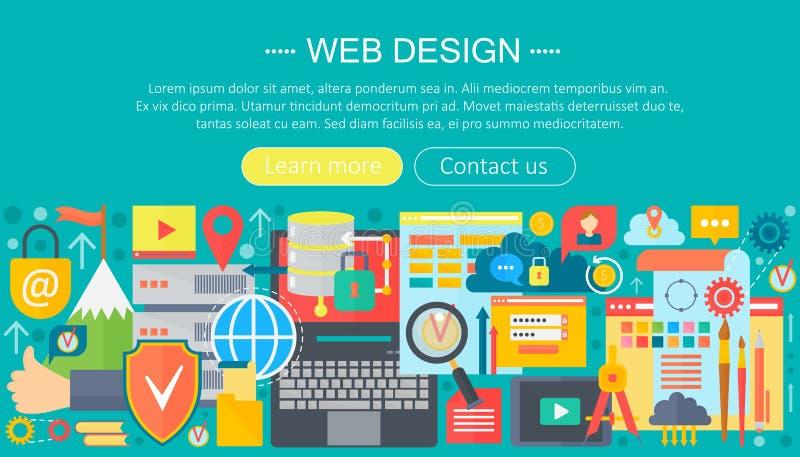Concetto piano di web design Progettazione di programmazione dell'intestazione del modello di infographics dei apps Illustrazione illustrazione vettoriale