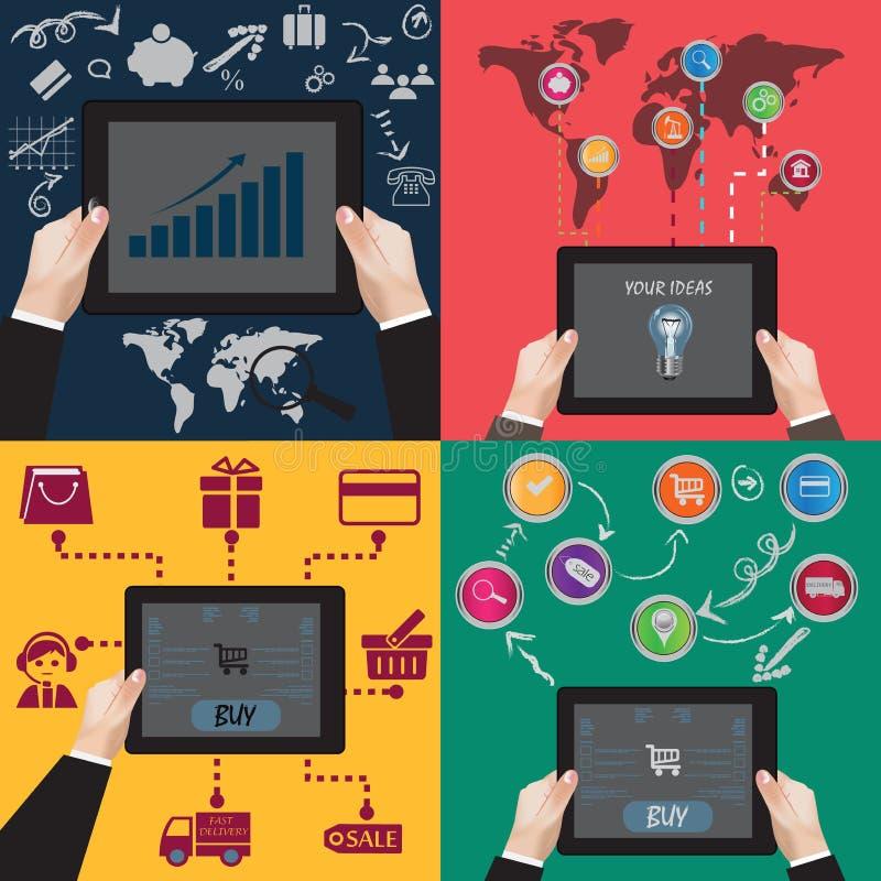 Concetto piano, infographics, clipart di commercio elettronico illustrazione di stock