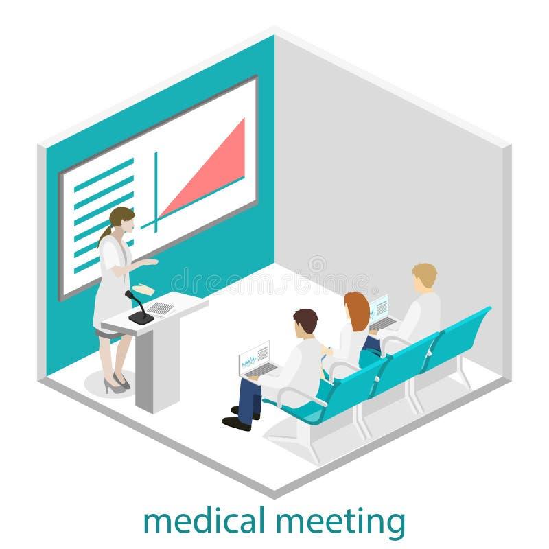 Concetto piano isometrico 3D di addestramento di ricerca della clinica di medico di conferenza illustrazione vettoriale