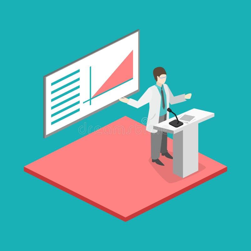 Concetto piano isometrico 3D di addestramento di ricerca della clinica di medico di conferenza royalty illustrazione gratis