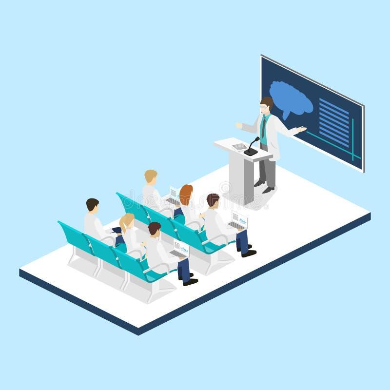 Concetto piano isometrico 3D di addestramento di ricerca della clinica di medico di conferenza illustrazione di stock