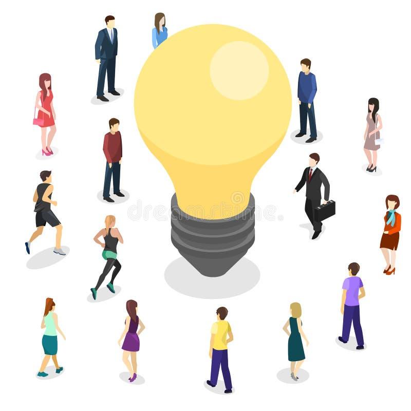 Concetto piano isometrico di idea isolato 3D di affari Innovazione della gente illustrazione vettoriale