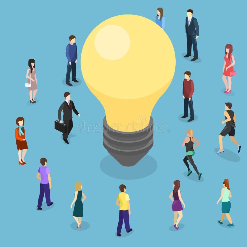 Concetto piano isometrico di idea isolato 3D di affari Innovazione della gente illustrazione di stock