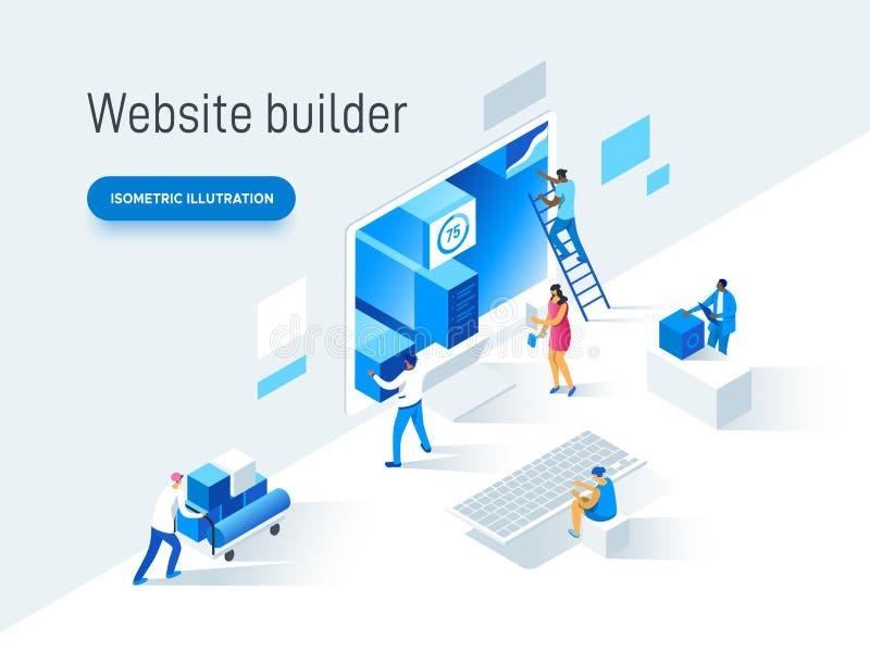 Concetto piano moderno dell'illustrazione di vettore della gente che fa pagina Web progettare per il sito Web Progettazione creat illustrazione vettoriale