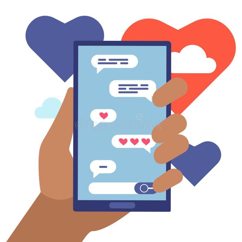 Concetto piano online di vettore del fumetto degli amanti di chiacchierata illustrazione di stock