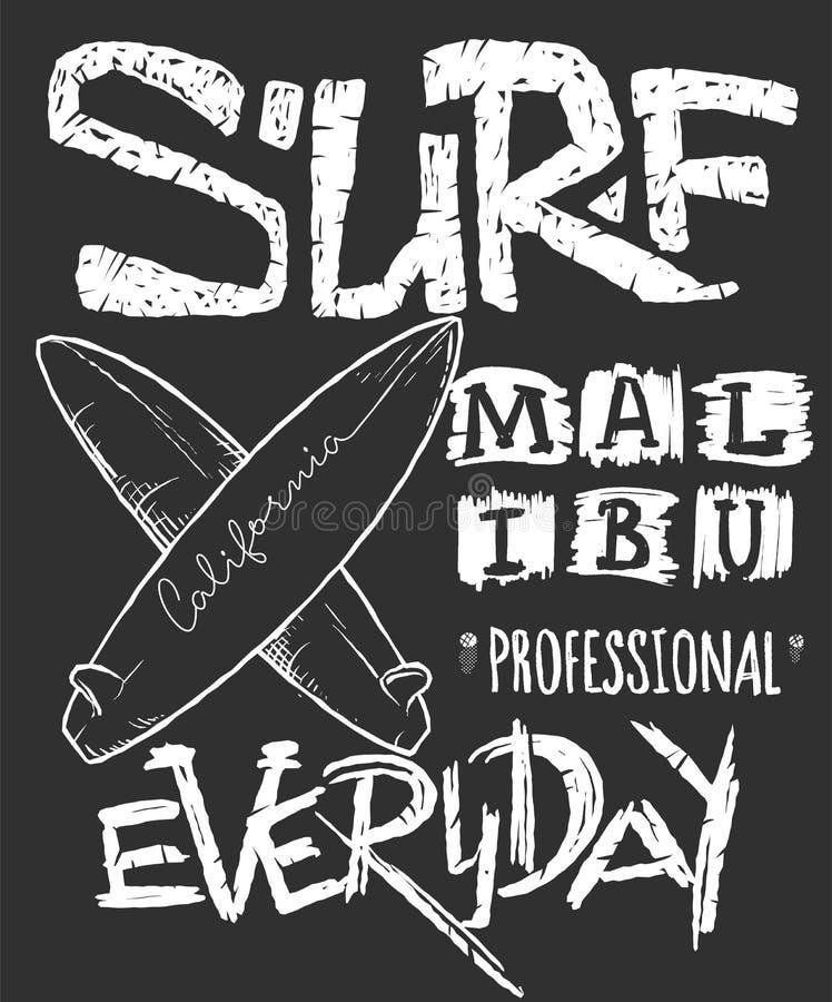 Concetto praticante il surfing per la stampa della camicia, illustrazione di vettore royalty illustrazione gratis