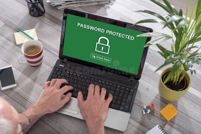 Concetto protetto di parola d'ordine su un computer portatile fotografia stock