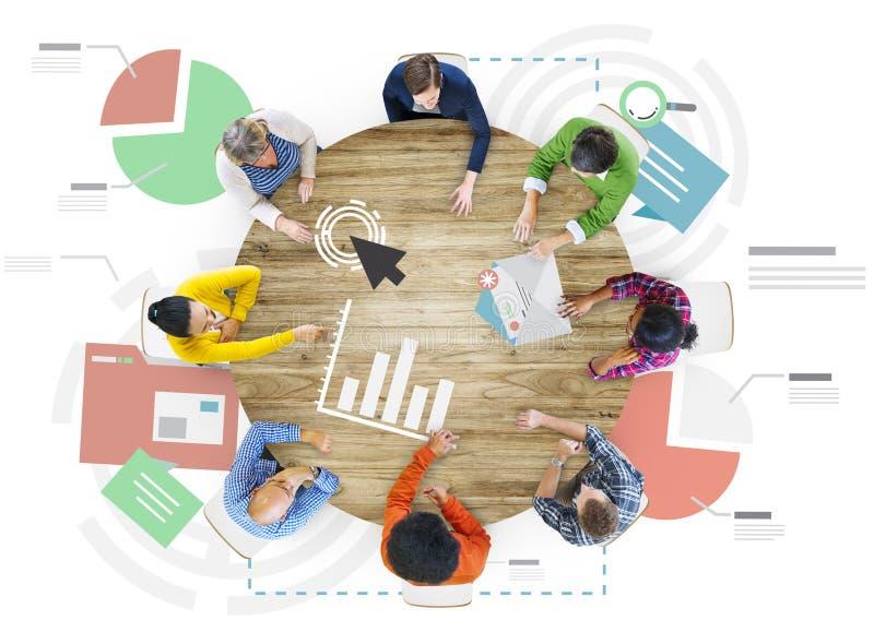 Concetto rapporto di analisi di statistiche di informazioni di riunione illustrazione di stock