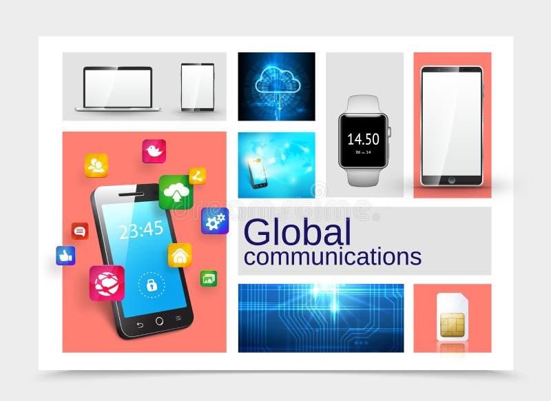 Concetto realistico delle comunicazioni globali illustrazione vettoriale