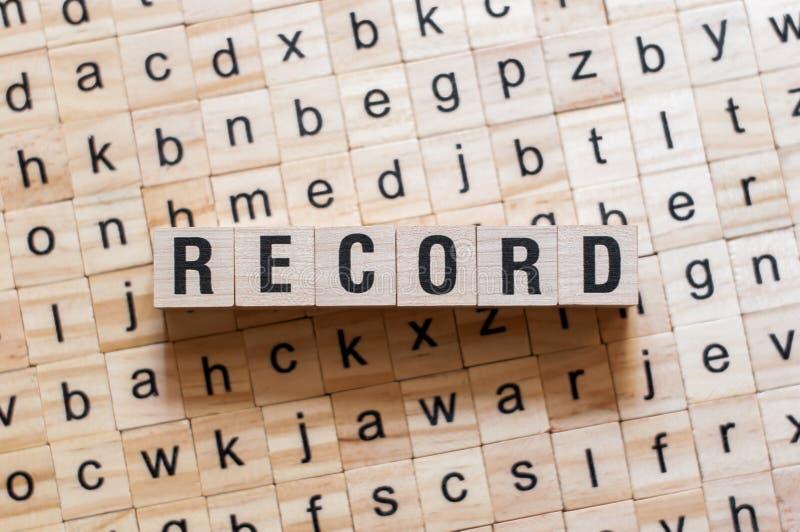 Concetto record di parola immagine stock