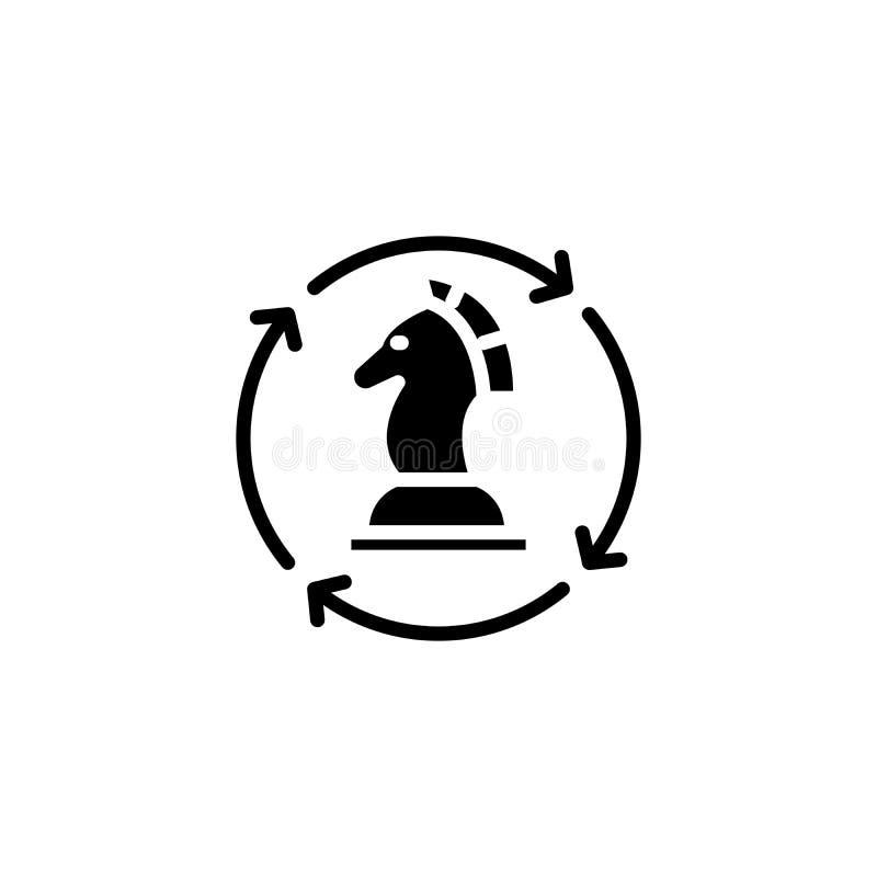 Concetto regolare dell'icona del nero di strategia Simbolo piano di vettore di strategia regolare, segno, illustrazione illustrazione di stock
