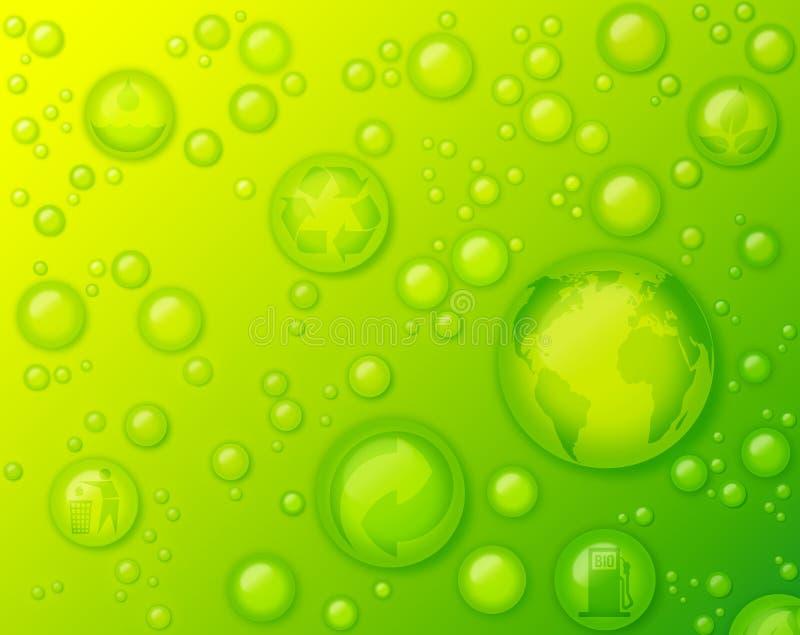 Concetto rispettoso dell'ambiente con le gocce di acqua su fondo verde fotografie stock libere da diritti