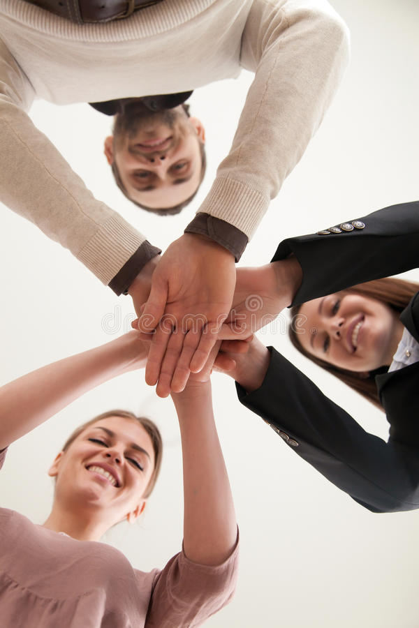 Concetto riuscito di costruzione del gruppo, associazione di affari, lavoro di squadra immagini stock
