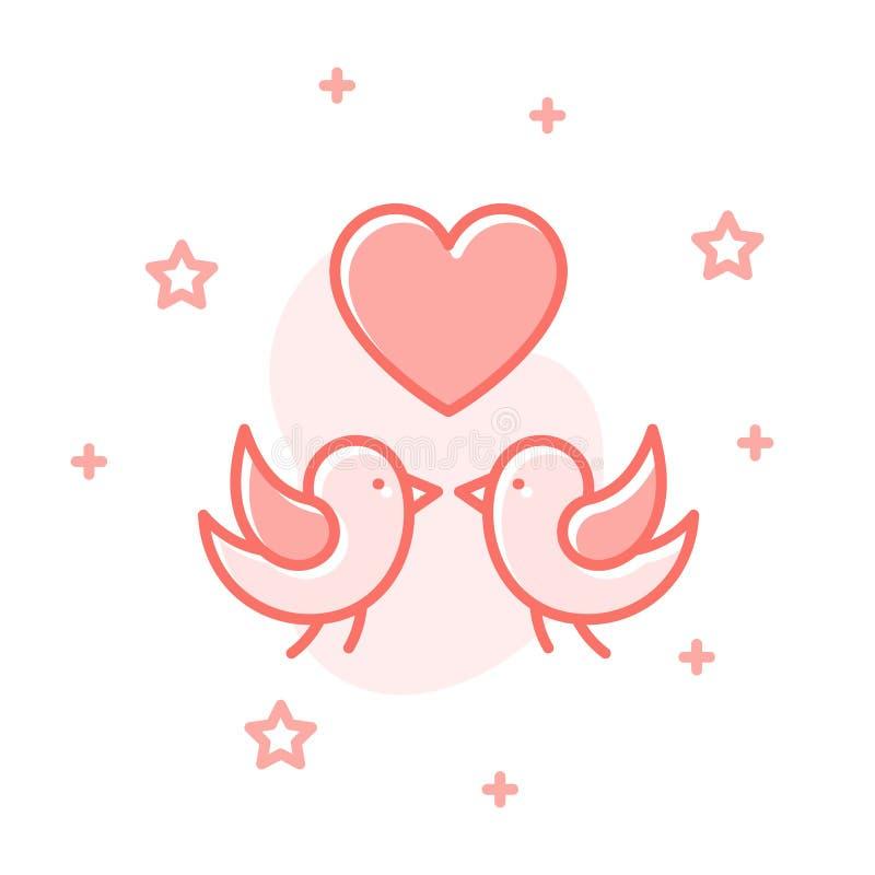 Concetto romantico di vettore di progettazione delle coppie degli uccelli di amore illustrazione di stock