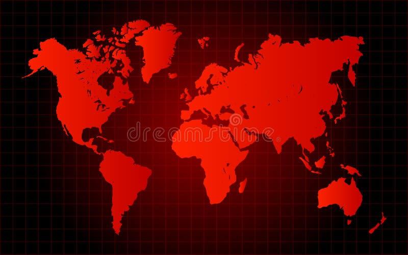 Concetto rosso del pericolo della mappa di mondo illustrazione di stock