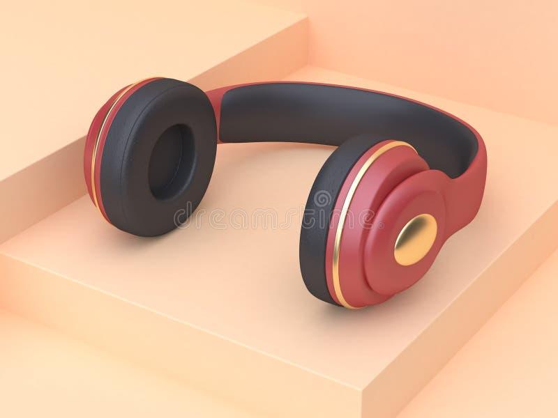 concetto rosso di tecnologia di musica delle cuffie dell'oro di scena crema dell'estratto della rappresentazione 3d royalty illustrazione gratis