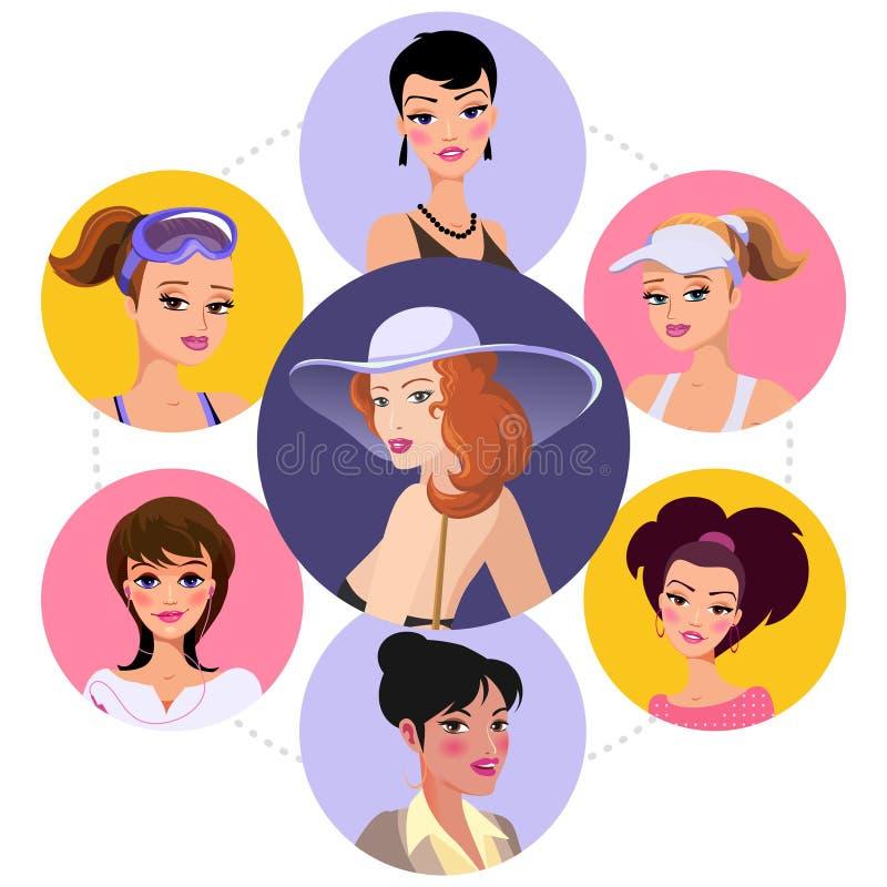 Concetto rotondo dei caratteri piani della donna illustrazione vettoriale