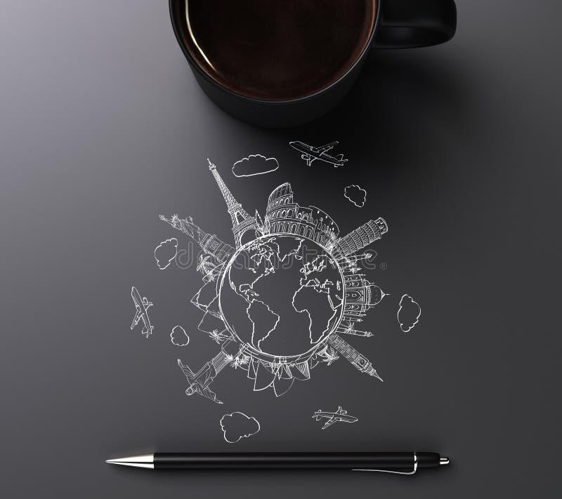 Concetto rotondo del mondo con i segni, la penna e la tazza di caffè di viaggio immagine stock