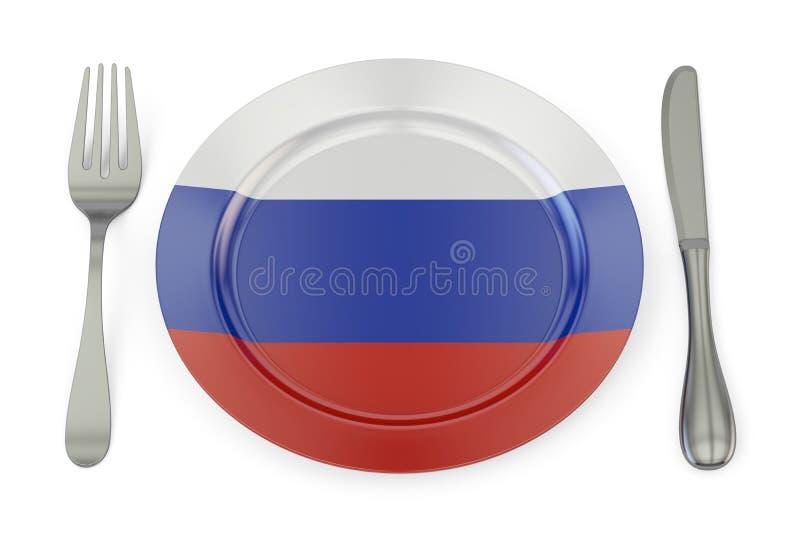 Concetto russo di cucina, piatto con la bandiera della Russia rappresentazione 3d illustrazione di stock