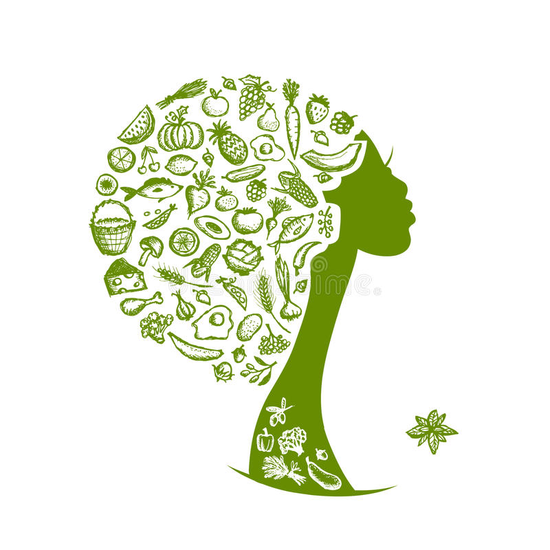 Concetto sano dell'alimento, testa della femmina con le verdure illustrazione di stock