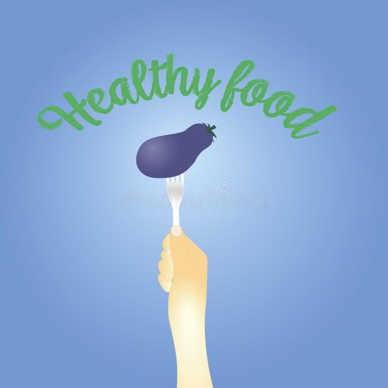 Concetto sano di cibo melanzana sulla forcella Illustrazione di vettore illustrazione vettoriale