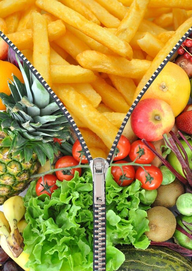 Concetto sano e non sano di dieta immagine stock