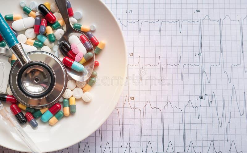 Concetto sano, molti farmaci sul piatto immagini stock libere da diritti