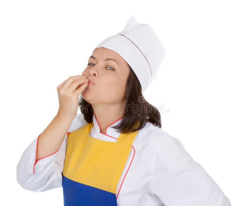 Concetto saporito dell'alimento Bello cuoco unico Giving della giovane donna un perfetto fotografia stock
