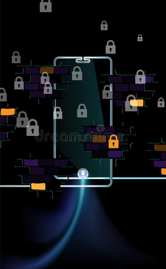 Concetto scuro del fondo di Internet libero accessibile Sicurezza digitale netta del blocchetto di Smartphone chiusura dell'inseg illustrazione di stock