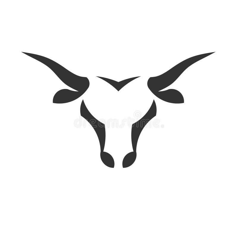Concetto semplice astratto di logo di vettore della testa del toro illustrazione di stock
