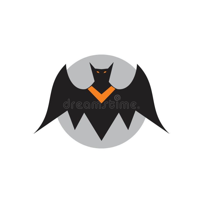 Concetto semplice volante diabolico di logo delle illustrazioni del pipistrello royalty illustrazione gratis