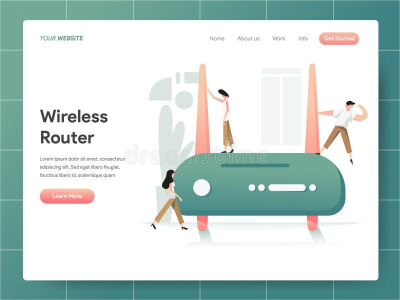 Concetto senza fili dell'illustrazione del router Concetto di progetto moderno di progettazione della pagina Web per il sito Web  royalty illustrazione gratis