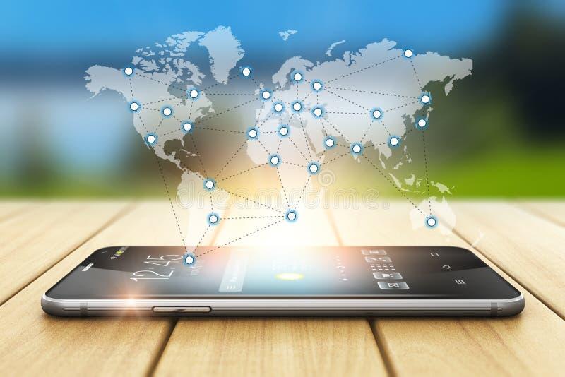 Concetto senza fili globale della rete sociale e di comunicazione illustrazione vettoriale