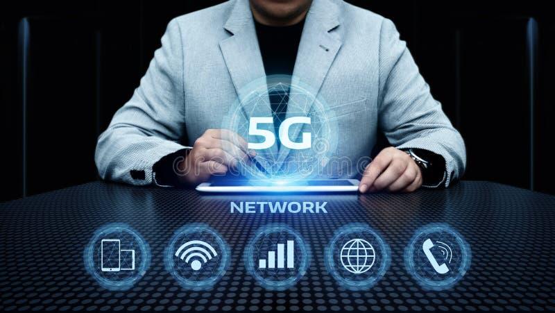 concetto senza fili mobile di affari di Internet della rete 5G immagini stock