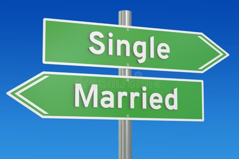 Concetto singolo o sposato sul cartello, rappresentazione 3D royalty illustrazione gratis