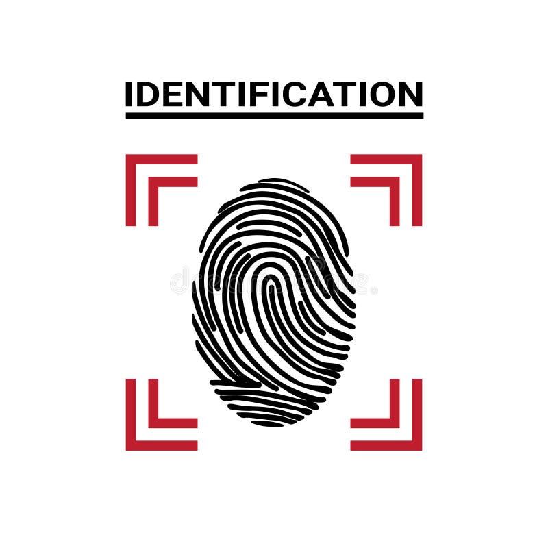 Concetto sistema di protezione moderno di sicurezza e di Access dell'identificazione dell'icona di esame dell'impronta digitale illustrazione vettoriale