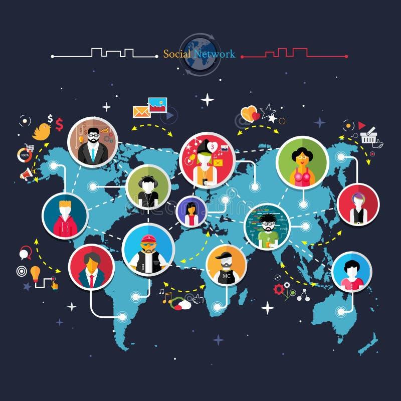 Concetto sociale del collegamento di rete di media illustrazione di stock