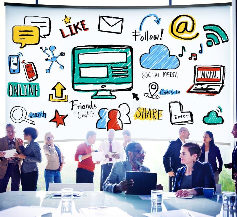 Concetto sociale del collegamento di tecnologia della rete sociale di media fotografia stock libera da diritti